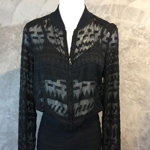 BCBGMaxAzira Sheer Zip Up Jacket
